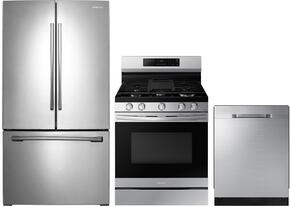 "3-Piece Kitchen Package with RF261BEAESR 36"" French Door Refrigerator, NX58H5600SS 30"" Freestanding Gas Ranges, and DW80K5050US 24"" Built In Fully Integrated Dishwasher in Stainless Steel"