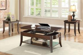Keenan 80545CE 3 PC Living Room Set with Coffee Table + 2 End Tables in Walnut Finish