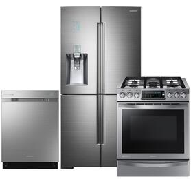 "Chef Collection 3-Piece Stainless Steel Kitchen Package with RF34H9960S4 36"" French Door Refrigerator, NX58H9950WS 30"" Slide-In Gas Range and DW80H9970US 24"" Fully Integrated Dishwasher"
