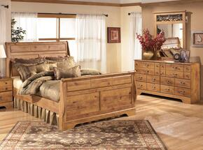 Bittersweet King Bedroom Set with Sleigh Bed, Dresser and Mirror in Light Wood