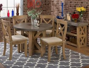 757-43TBKTSET7 Boulder Ridge Concrete Round Dining Table with 4 X Back Side Chairs