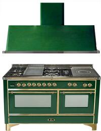 "2-Piece Emerald Green Kitchen Package with UM150FSDMPVS 60"" Freestanding Dual Fuel Range (Brass Trim, 5 Burners, French Cooktop) and UAM150VS 60"" Wall Mount Range Hood"