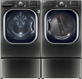 "Black Stainless Steel Laundry Pair with WM4370HKA 27"" Washer, DLGX4371K 27"" Gas Dryer, and 2 WDP4K Pedestals"