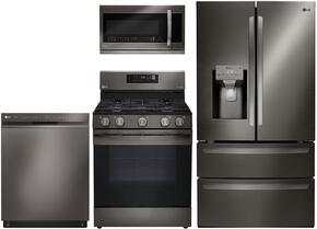 "4-Piece Kitchen Package with LMXS28626D 36"" French Door Refrigerator, LRG3061BD 30"" Freestanding Gas Range, LMVM2033BD 30"" Over the Range Microwave, and LDP6797BD  24"" Built In Fully Integrated Dishwasher in Black Stainless Steel"
