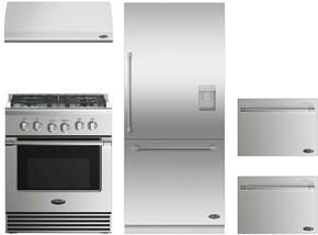 "4 Piece Kitchen Package With RGV2304L 30"" Gas Freestanding Range, ES30 30"" Wall Mount Hood, RS36W80RUC1 36"" Built In Bottom Freezer Refrigerator and two DD24SV2T7 24"" Dishwasher Drawers in Stainless Steel"