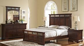 00455210220230DMNN 5 Piece Bedroom Set with California King Madera Bed, Dresser, Mirror and Two Nightstands, in Chestnut