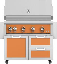 """42"""" Freestanding Natural Gas Grill with GCR42OR Tower Grill Cart with Double Drawer and Door Combo, in Citra Orange"""