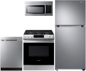 """4-Piece Stainless Steel Kitchen Package with RT18M6215SR 29"""" Top Freezer Refrigerator, NX58M6650WS 30"""" Gas Range, DW80J3020US 24"""" Full Console Dishwasher and ME16K3000AS 30"""" Over-the-Range Microwave"""