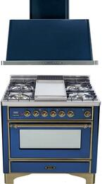 "2-Piece Midnight Blue Kitchen Package with UM90FDMPBLY 36"" Freestanding Dual Fuel Range (Oiled Bronze Trim, 4 Burners, Griddle) and UAM90BL 36"" Wall Mount Range Hood"