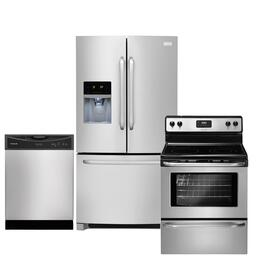 "3-Piece Stainless Steel Kitchen Package with FFHB2740PS 36"" Freestanding French-Door Refrigerator, FFEF3043LS 30"" Freestanding Electric Range and FFBD2406NS Full Console Dishwasher"