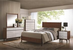 Oakwood Collection 204301KW4PC 5 PC Bedroom Set with California King Size Bed + Nightstand + Dresser + Mirror in Golden Brown Finish