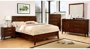 Snyder Collection CM7792QBDMCN 5-Piece Bedroom Set with Queen Bed, Dresser, Mirror, Chest and Nightstand in Brown Cherry Finish