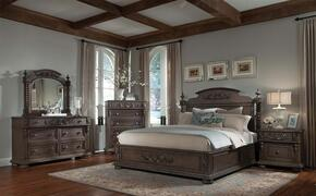 980066DMC2NS Versailles King Size Bed + Dresser + Mirror + Chest + 2 Nightstands with Decorative Wood Carvings, Carved Bun Feet, Turned Posts, Rubberwood Solids and Birch Veneers in Normandie Finish