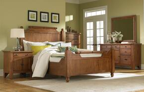 Attic Heirlooms 4397QFBNDM 4-Piece Bedroom Set with Queen Feather Bed, Door Nightstand, Dresser and Mirror in Natural Oak Stain Finish