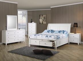 400239FSET6 Sandy Beach 6 Pc Full Bedroom Set in White Finish (Bed, 2x Nightstand, Dresser, Mirror, and Chest)