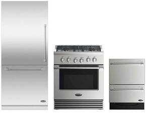 "3 Piece Stainless Steel Kitchen Package With RDV2304N 3O"" Gas Freestanding Range, RS36W80LJC1 36"" Bottom Freezer Refrigerator and Free DD24DV2T7 24"" Drawers Dishwasher"