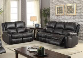 Zuriel 52285SL 2 PC Living Room Set with Sofa + Loveseat in Black Color