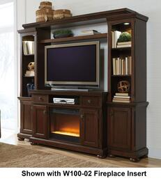 "Porter W697SMWALL01 Entertianment Center with 54"" Wide Large TV Stand, Left Pier, Right Pier, Bridge with Shelf and W100-01 Fireplace Insert in Rustic Brown Finish"