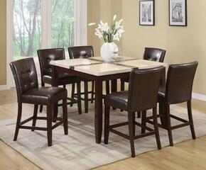 Justin 16555T6C 7 PC Bar Table Set with Counter Height Table + 8 Chairs in Walnut Finish