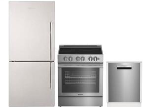 "3-Piece Kitchen Package with BRFB1812SSN 30"" Bottom Freezer Refrigerator, BDFP34550SS 30"" Slide-in Electric Range, and a free DWT58500SSWS 24"" Built In Fully Integrated Dishwasher in Stainless Steel"