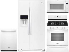 "4-Piece White Kitchen Package with WRS588FIHW 36"" Side by Side Refrigerator, WFG525S0HW 30"" Freestanding Gas Range, WDT730PAHW 24"" Fully Integrated Dishwasher and WMH53521HW 30"" Over-the-Range Microwave"