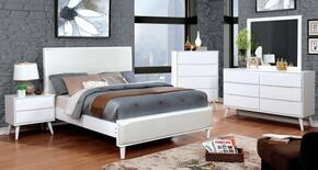Lennart II Collection CM7387WHQBEDSET 5 PC Bedroom Set with Queen Size Panel Bed + Dresser + Mirror + Chest + Nightstand in White Finish