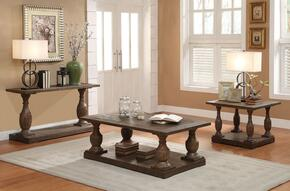 Hanson 81605CES 3 PC Living Room Table Set with Coffee Table + End Table + Sofa Table in Salvage Brown Finish