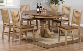 Brook Collection DLU-BR4260-C60-PW7PC 7 Piece Round or Oval Butterfly Leaf Dining Set with Slat Back Chairs