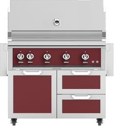 "42"" Freestanding Liquid Propane Grill with GCR42BG Tower Grill Cart with Double Drawer and Door Combo, in Tin Roof Burgundy"