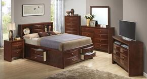 G1550GQSB3SET 6 PC Bedroom Set with Queen Size Storage Bed + Dresser + Mirror + Chest + Nightstand + Media Chest in Cherry Finish