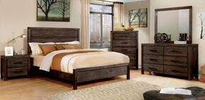 Rexburg Collection CM7382FBEDSET 5 PC Bedroom Set with Full Size Panel Bed + Dresser + Mirror + Chest + Nightstand in Dark Grey Wire-Brushed Finish