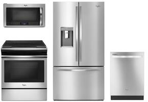 "4 Piece Kitchen package With WEE510S0FS 30"" Electric Range, WMH73521CS Over The Range Microwave, WRF992FIFM 36"" French Door Refrigerator and WDT720PADM 24"" Built In Dishwasher In Stainless Steel"