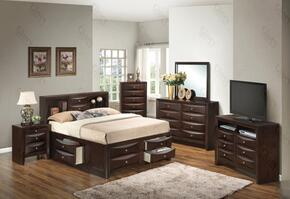 G1525GQSB3NTV2 3 Piece Set including  Queen Size Bed, Nightstand and Media Chest  in Cappuccino