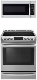 "2-Piece Stainless Steel Kitchen Package with LSE4613ST 30"" Slide-In Electric Range and LMV2031ST 30"" Over the Range Microwave"