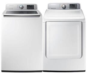 "White Front Load Laundry Pair with WA45M7050AW 27"" Top Load Washer and DV45H7000EW 27"" Electric Dryer"