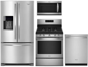 "4 Piece Kitchen Package With WRF555SDFZ 36"" French Door Refrigerator, WFG525S0HZ Gas Range, WMH32519HZ 30"" Over the Range Microwave Oven and WDT750SAHZ 24"" Built In Dishwasher in Stainless Steel"