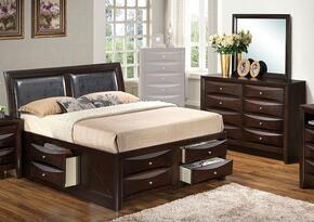 G1525IQSB4DM 3 Piece Set including  Queen Size Bed, Dresser and Mirror in Cappuccino