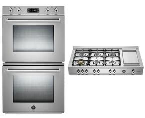 "Professional 2-Piece Stainless Steel Kitchen Package with FD30PROXT 30"" Double Electric Wall Oven and CB36600X 36"" Gas Rangetop"