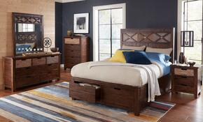 Painted Canyon Collection 1603QPBDMNC 5-Piece Bedroom Set with Queen Bed, Dresser, Mirror, Nightstand and Chest in Brown