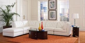 Quinn Collection 551021SET Living Room Set with 3 Armless Chairs + 2 Corner Chairs + Storage Ottoman in White Color