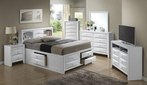 G1570GQSB3SET 6 PC Bedroom Set with Queen Size Storage Bed + Dresser + Mirror + Chest + Nightstand + Media Chest in White Finish