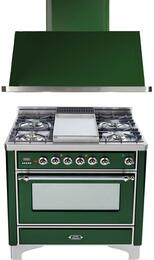"2-Piece Emerald Green Kitchen Package with UM90FDVGGVSX 36"" Freestanding Gas Range (Chrome Trim, 4 Burners, Griddle) and UAM90VS 36"" Wall Mount Range Hood"