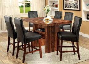 Bonneville II Collection CM3824PT6PC 7-Piece Dining Room Set with Rectangular Table and 6 Bar Stools in Black Finish