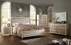 Voeville 20994CK5PC Bedroom Set with California King Size Bed + Dresser + Mirror + Chest + Nightstand in Antique White Color