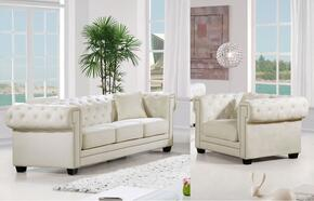 Bowery Collection 6142PCARMKIT4 2-Piece Living Room Sets with Stationary Sofa, and Living Room Chair in Cream