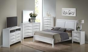 G1570AQBSET 6 PC Bedroom Set with Queen Size Bed + Dresser + Mirror + Chest + Nightstand + Media Chest in White Finish