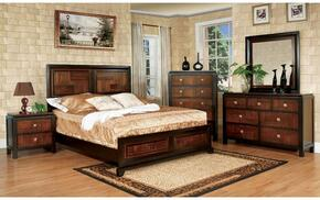 Patra Collection CM7152FBDMCN 5-Piece Bedroom Set with Full Bed, Dresser, Mirror, Chest, and Nightstand in Acacia and Walnut Finish