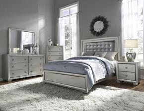 Celestial 89602707100BDMCN 5 PC Bedroom Set with King Size Bed + Dresser + Mirror + Chest + Nightstand in Silver Color