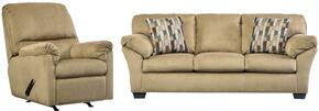 Aluria Collection 18201SR 2-Piece Living Room Set with Sofa and Recliner in Mocha
