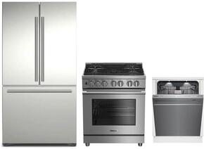 "3-Piece Kitchen Package with BRFD2230SS 36"" French Door Refrigerator, BDFP34550SS 30"" Freestanding Dual Fuel Range, and DWT59500SS 24"" Built In Fully Integrated Dishwasher in Stainless Steel"